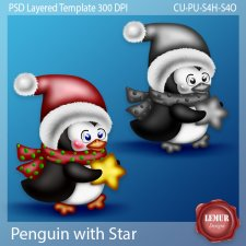 Penguin with Star Layered PSD Template