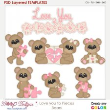 Love You to Pieces Bears Layered Element Templates