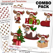 12 Moose of Christmas 2 Layered Template COMBO Set