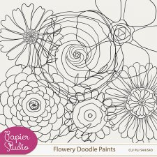 Flowery Doodle Paints with Layers by PapierStudio Silke