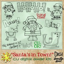 Christmas - Santas in Town - CU doodles