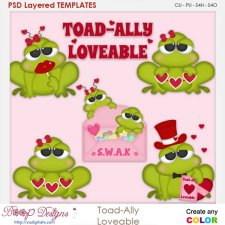 Toad-Ally Loveable Valentine Frogs Layered Element Templates