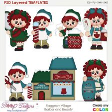 Raggedy Village Barber & Beauty Layered Element Templates