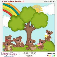 Teddy Bear Picnic Layered Element Templates