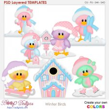 Winter Snow Birds Layered TEMPLATES
