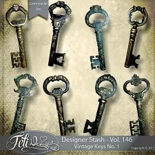 Designer Stash Vol 146 - Vintage Keys No 1 by Feli Designs