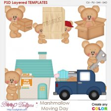 Marshmallow Bear's Moving Day Layered Element Templates