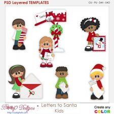 Letters to Santa Kids Layered Element Templates