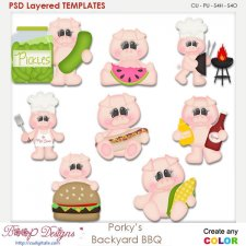 Porky Pig's Backyard BBQ Layered Templates