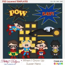 When I Grow Up Super Hero Layered Element Templates