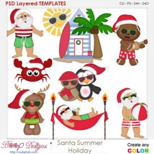 Santa's Summer Holiday Layered Element Templates