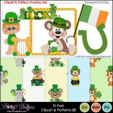 St Pats 08 - Clipart & Pattern Overlay COMBO