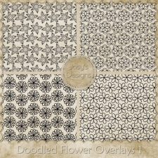 Doodled Flower Overlays 1 by Josy