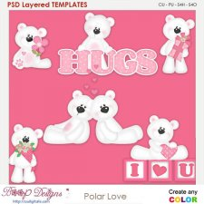 Polar Bear Love Layered Element Templates