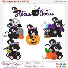 Hocus Pocus Cat Halloween Element Templates