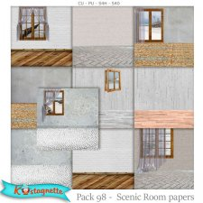 Pack 98 Scenic Room papers by Kastagnette