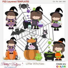 Little Halloween Witches Element Templates