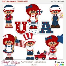 American Patriotic Raggedies Layered Element Templates