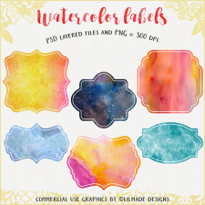 Watercolor label templates
