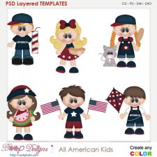 All American Summer Kids Layered Element Templates