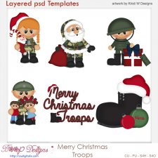 Merry Christmas Troops Layered Template COMBO Set