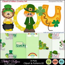 St Pats 03 - Clipart & Pattern Overlay COMBO