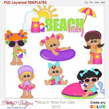 Beach Time Fun Girls Layered Element Templates