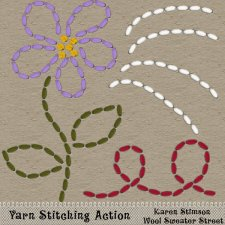 Yarn Stitching Action by Karen Stimson