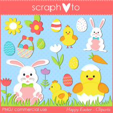 Happy Easter Cliparts by Scraphoto Studio