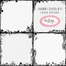 Shabby floral overlays black version Lilmade Designs