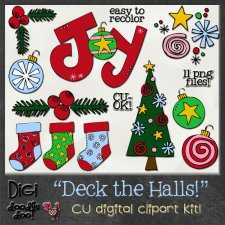 Christmas - Deck the Halls - CU clipart