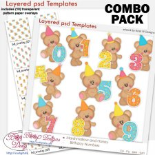 Marshmallow & Honey Bear Birthday Numbers COMBO Templates