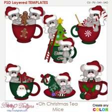 Oh Christmas Tea Mice Layered Element Templates