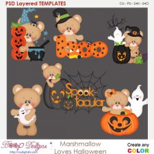 Marshmallow Bear Loves Halloween Element Templates