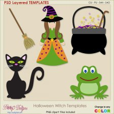 Halloween Witch Layered TEMPLATES