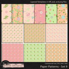 EXCLUSIVE Layered Paper Patterns Templates Set 9 by NewE Designz