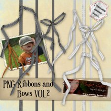 Three ribbons and Bows PNG format by Monica Larsen