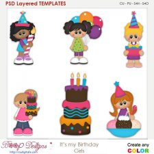 It's My Birthday Girls Layered Element Templates