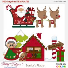 Santa's Place Layered Element Templates