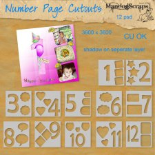 Number Page Cutouts by Mandog Scraps