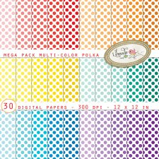 Multicolor Polkas Digital Papers Mega Pack Lilmade Designs