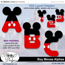 Boy Mouse Alpha & Number TEMPLATE Set by Boop Designs