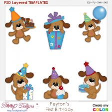 Peyton the Puppy Dog First Birthday Layered Element Templates
