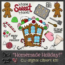 Christmas - Homemade Holiday - CU clipart