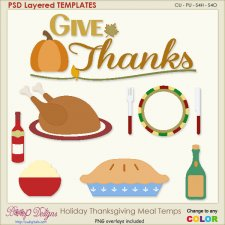 Holiday Thanksgiving Meal Layered Element TEMPLATES