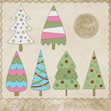 Jolly Holly Day Tree Vector Templates by Josy