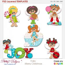 Fairy Merry Christmas Layered Element Templates