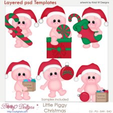 Christmas Piggy Layered Template COMBO Set