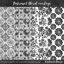 Distressed floral overlays Lilmade Designs