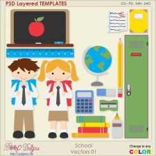 School Layered VECTOR TEMPLATES